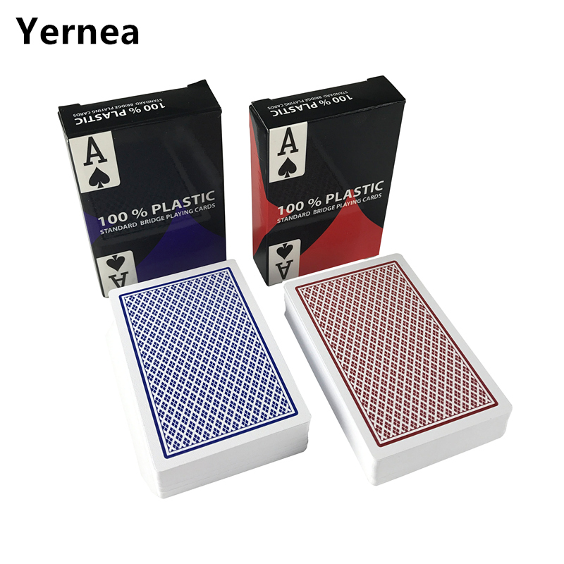 Baru 2 sets / Lot 2 Warna Merah Dan Biru PVC Poker Kartu Tahan Air Hiburan baccarat Texas Hold'em Poker Game Yernea