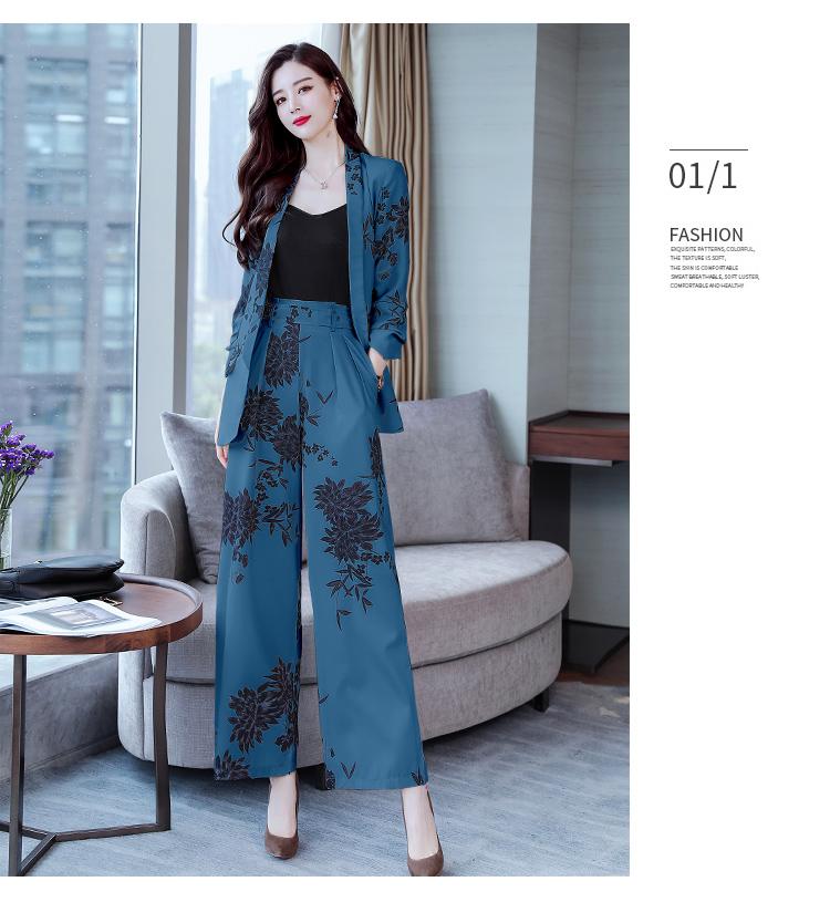 YASUGUOJI New 2019 Spring Fashion Floral Print Pants Suits Elegant Woman Wide-leg Trouser Suits Set 2 Pieces Pantsuit Women 27