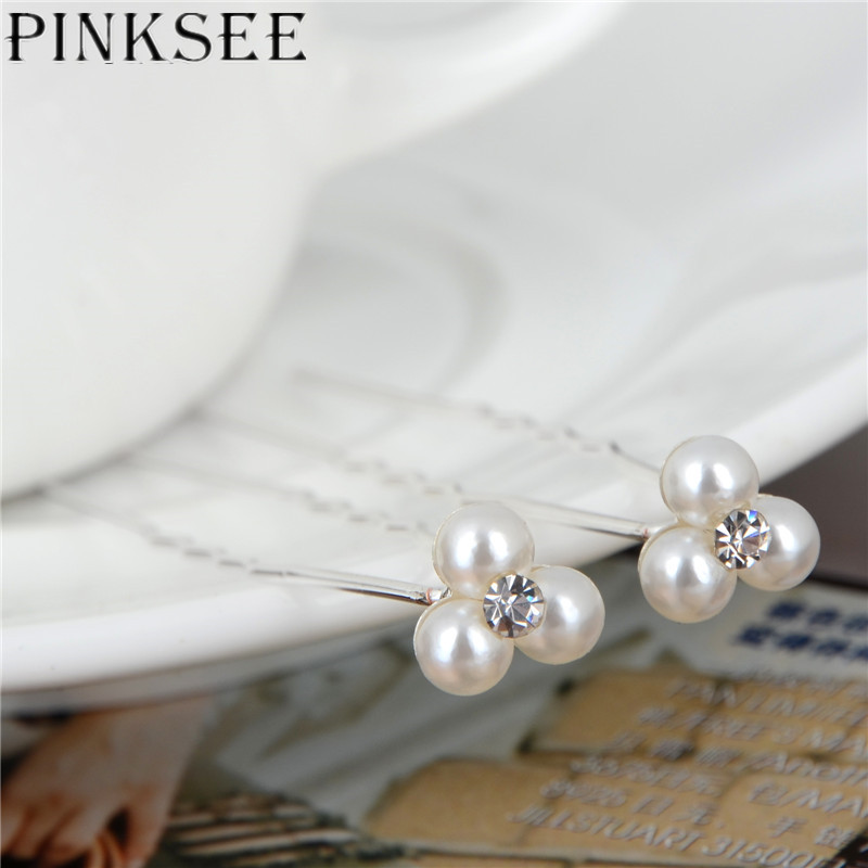 Wholesale 20pcsset Wedding Bridal Party 3 Pearls 1 Rhinestone Hair Clip Hair Pin Bridesmaid Accessories