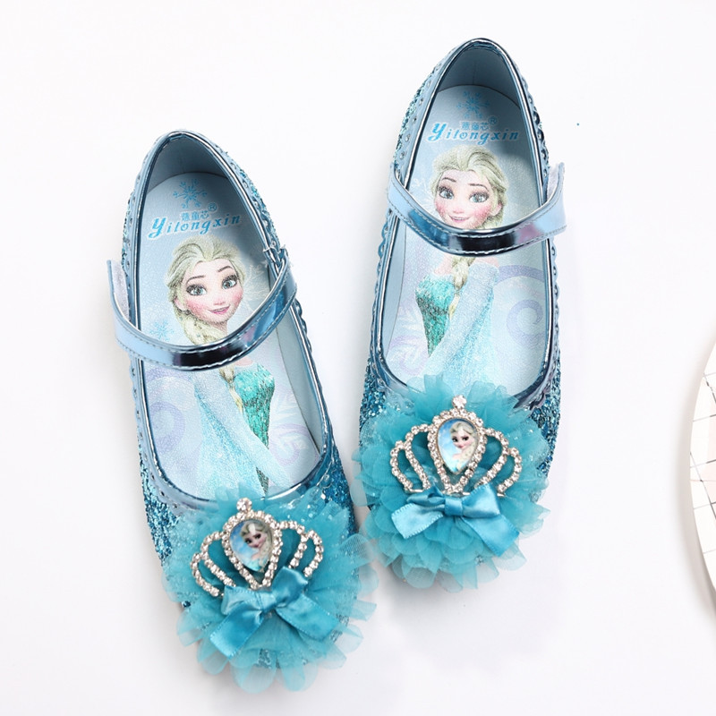 1b7a7e8edb7 Children s flat shoes soft bottom children s girls single crystal baby small  shoes Frozen Princess shoes EU size 23-36