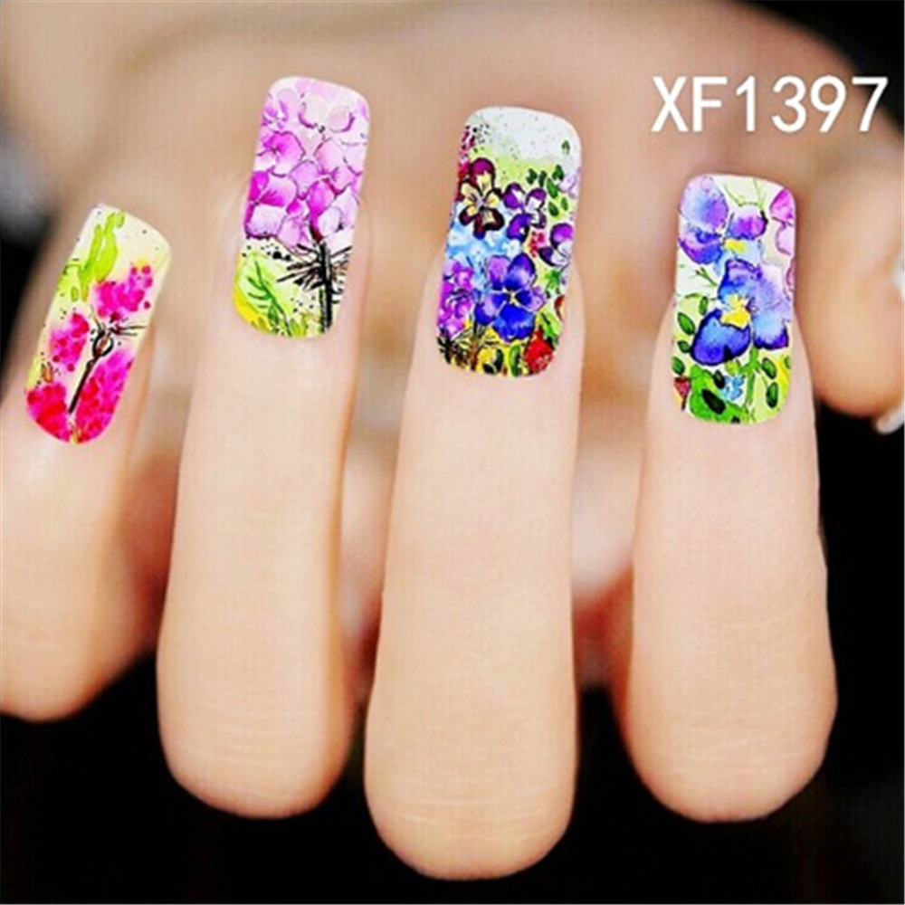 Oil Painting Style nail accessories water decals stickers for ...