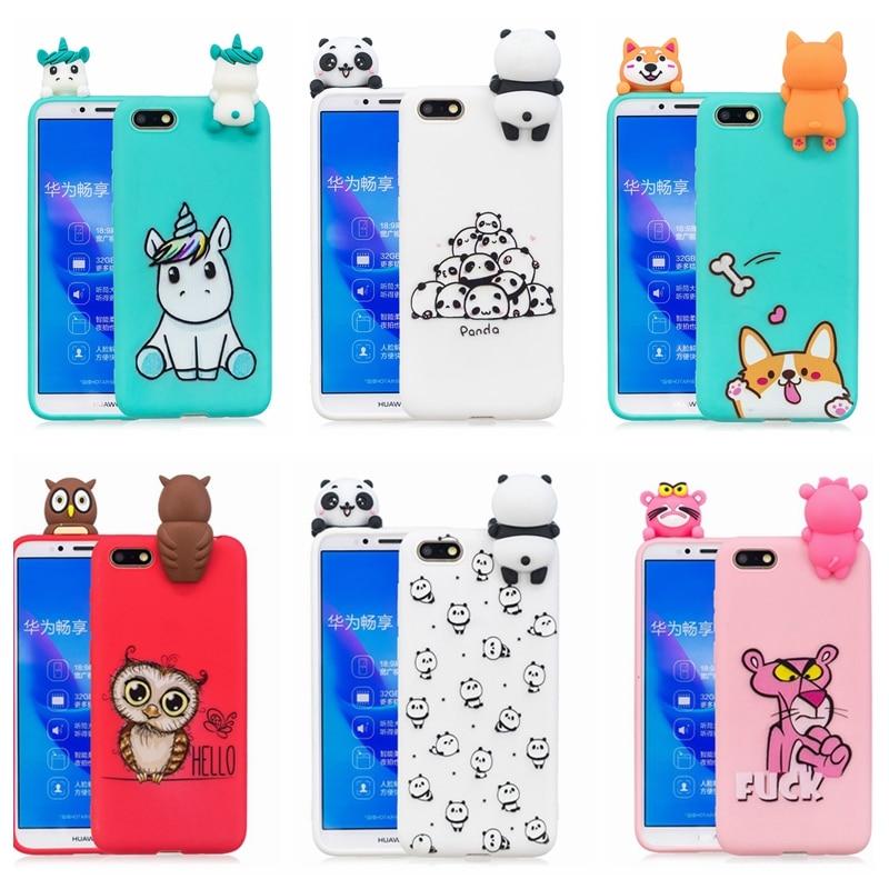 Coque de téléphone Y3 Y5 Y6, étui en Silicone, mignon, Panda 3D, licorne, chien, pour Huawei Y3 Y5 Y6 Y7 Prime 2018, 2018