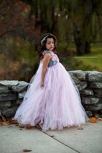 Image 5 - Розовое и серое платье пачка с цветами для девочек, свадебное платье из тюля, свадебные платья для девочек, платье с розами, детская одежда для девочек