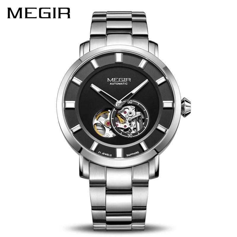 De luxe MEGIR Automatique Montre Mécanique Hommes En Acier Inoxydable D'affaires Montres Horloge Relogio Masculino Squelette Hommes Montres