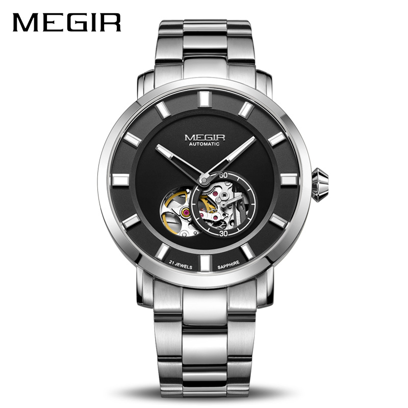 Luxury MEGIR Automatic Mechanical Watch Men Stainless Steel Business Wristwatches Clock Relogio Masculino Skeleton Men Watches megir top brand luxury men quartz watch stainless steel band men fashion business watches men leisure clock relogio masculino