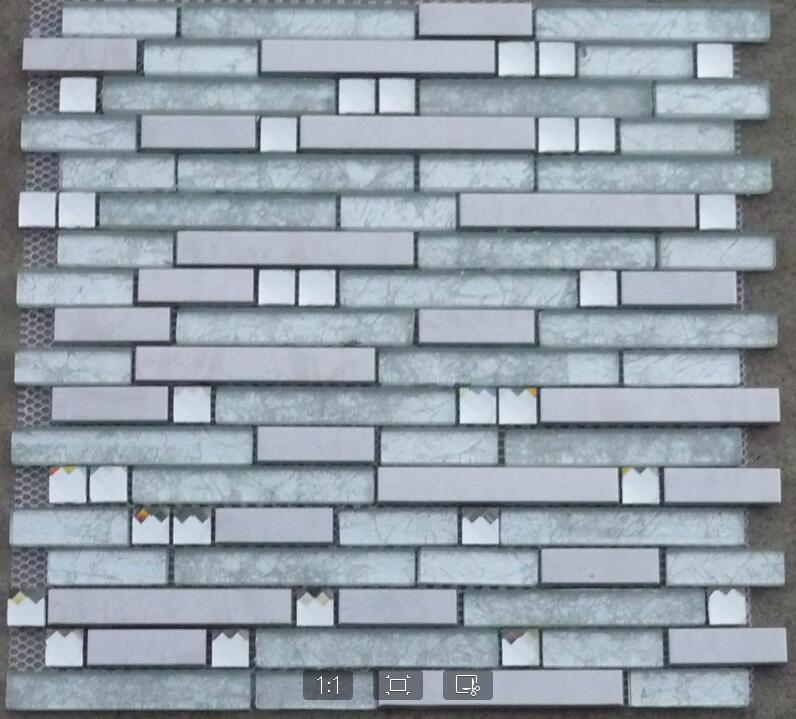Stainless Steel Metal Mosaic Glass Tile Kitchen Backsplash Bathroom Shower Background Decorative Wall Paper Fireplace Bar Tiles