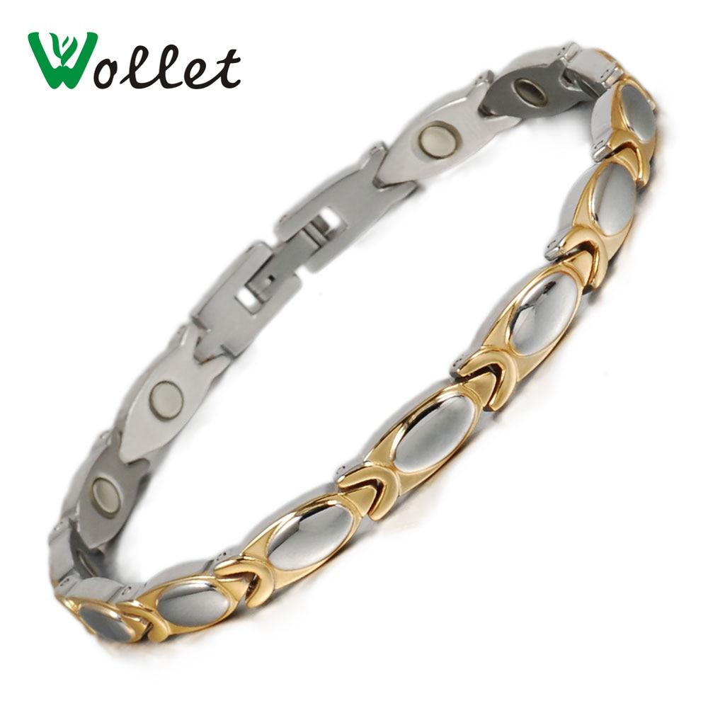 f3d1f00cc0ce Wollet joyas moda oro color curación eneryg bio pulsera magnética del acero  inoxidable para el brazalete para las mujeres
