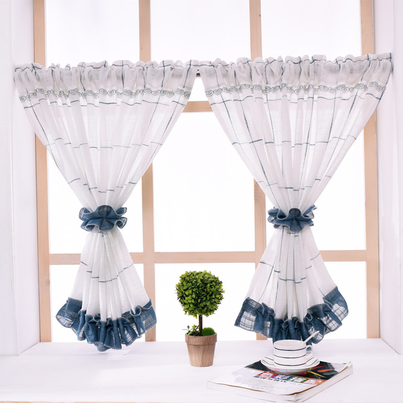US $9.18 46% OFF|American Pastoral Style Short Curtain Navy Blue Plaid  Sheer Curtains Cotton Linen Kitchen Curtain Bedroom Curtain for Home  Decor-in ...