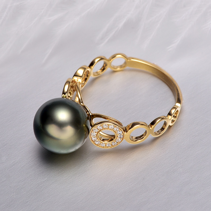 YS 18k Pearl Engagement Ring 9 10mm Black Tahitian Pearl Ring in Rings from Jewelry Accessories