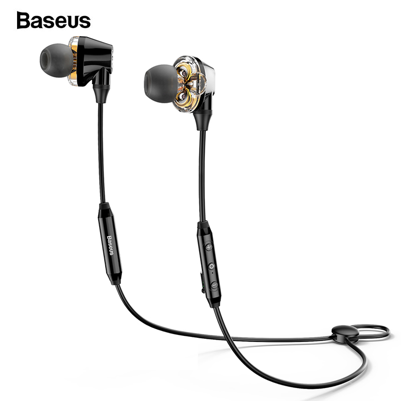 Baseus S10 Bluetooth Earphone Wireless Headphone For Phone IPX5 Dual Driver Headset With Mic Sport Earbuds Casque fone de ouvido awei a920bls bluetooth headphone fone de ouvido wireless earphone sports headset hands free casque with mic audifonos cordless