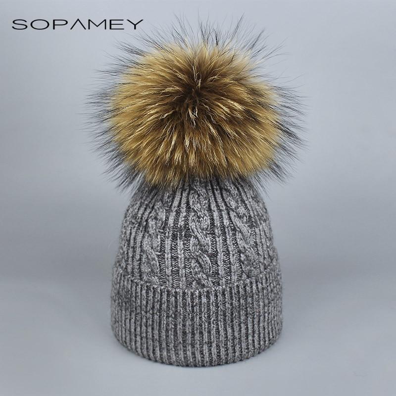 font b Winter b font fur pompom hat Skullies for women cashmere wool cotton  hat 09d0537d9e0