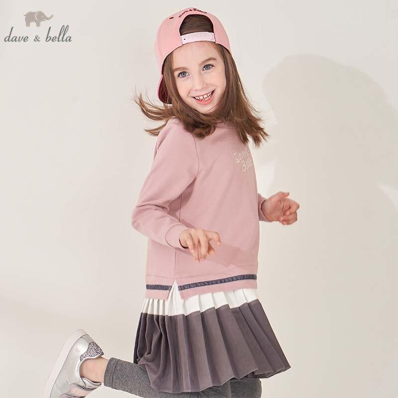 DBK8122 dave bella kids 5Y 11Y fashion dress children high quality dresses baby long sleeve clothing
