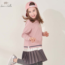 DBK8122 dave bella kids 5Y-11Y fashion dress children high quality dresses baby long sleeve clothing brand clothes