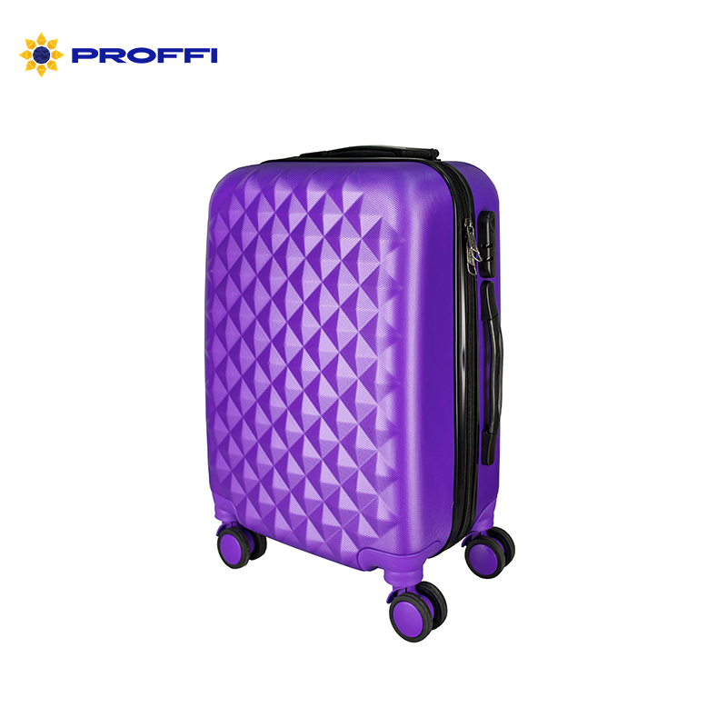 Bright blue suitcase PROFFI TRAVEL PH8368violet, M, medium plastic with retractable handle with combination lock  on wheels