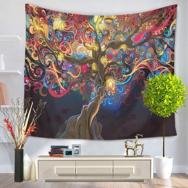 Oil Painting Tree Mandala Floral Wall Art Tapestry ~ TapestryCorner
