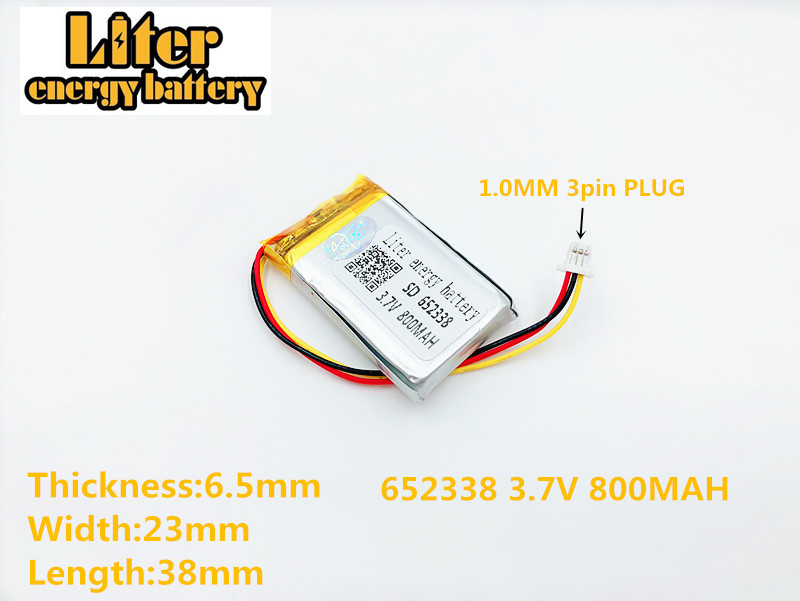 Power Source Batteries Clever 652338 3.7v 800mah Rechargeable Li-polymer Battery For Toys Millet Gps Texet Dvr Mp3 Mp4 Cell Phone Speaker 622338 602338 Elegant And Graceful