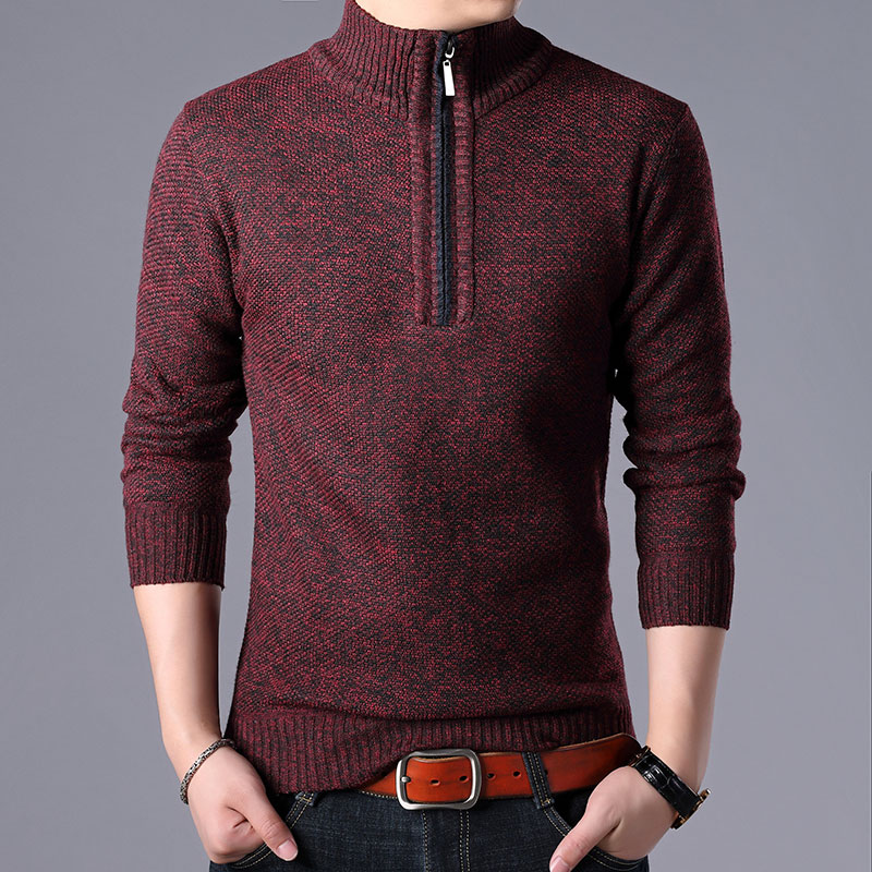 New Men Sweater Cashmere Wool Autumn Winter Warm Zipper Pullover Casual Sweaters