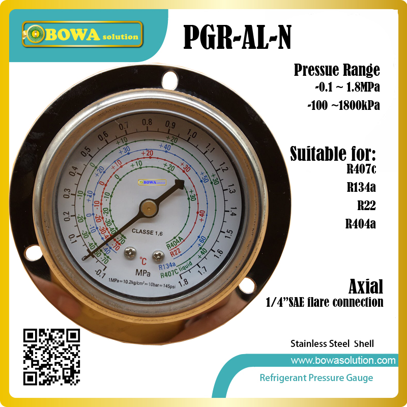 1.8MPa Low Pressure Gauge for R404a, R22, R407c and R134a indicates pressure value in air conditioner or  air dryer machine r134a single refrigeration pressure gauge code 1503 including high and low
