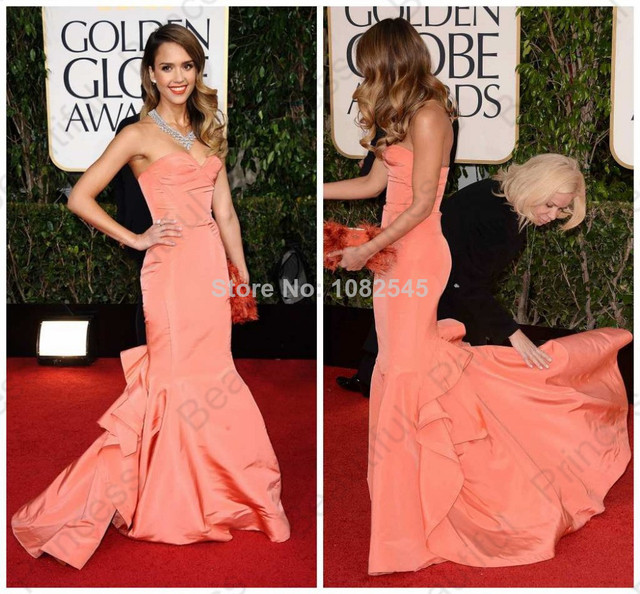 jessica alba golden globes dress strapless sweetheart mermaid orange