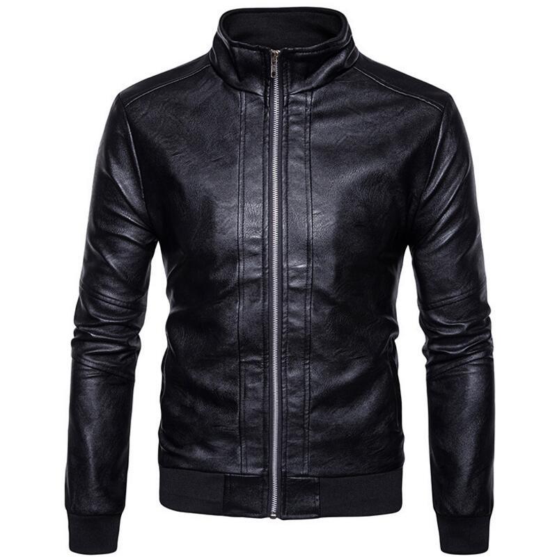 Vêtements kaki Printemps Masculins Mode Hommes En Manteaux Veste Vestes De Occasionnels Moto Cuir Automne Noir Pzvqzwn6