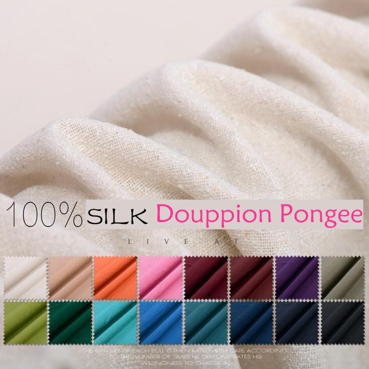 110 cm largeur 34 momme Solide couleur soie douppion pongé/filé de fantaisie tissu de soie diy longue robe vêtements tissu livraison gratuite JGDS714