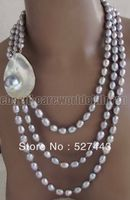 Grey Rice 10 11mm FW Pearl Mabe Pearl Pendant 3 Rows Beautiful Necklace & Gray Shell clasp
