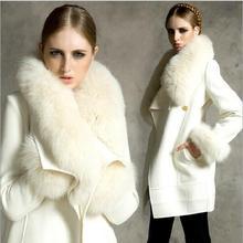 2016 New Winter Fur collar Woolen cloth Coat Women Elegant Temperament Leisure Keep warm Big yards