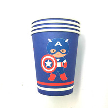Captain America theme printing paper cup tableware for happy birthday Party drinking cups 10pcs used screen printing machine for bottles cups mugs pens paper cup printing machine
