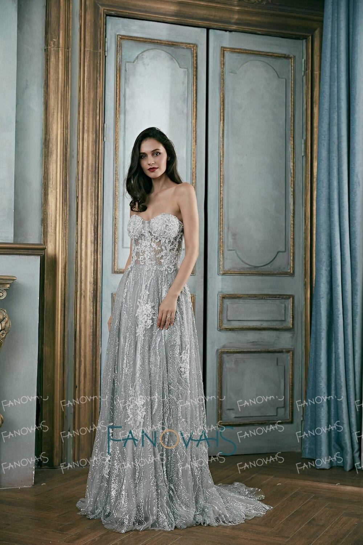 Elegant Silver Grey Evening Dresses Long Sweetheart Glitter Lace Prom Dresses 2018 Beaded Robe de Soiree Prom Party Gown EN2