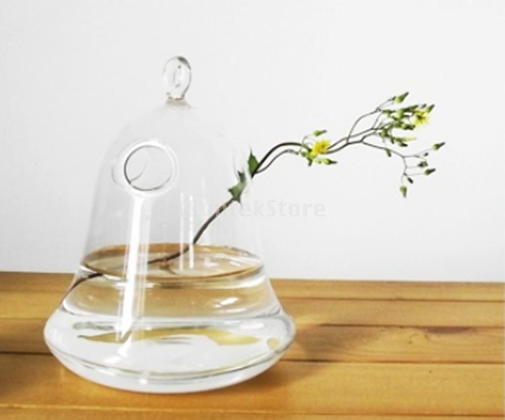 Wall vases for flowers - Clear Bell Glass Wall Hanging Vase Bottle For Plant Flower Decorations