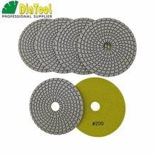 DIATOOL 6 pièces #200 125MM diamant Flexible tampons de polissage humide pour pierre, granit et marbre, liaison blanche, disques de ponçage de pierre