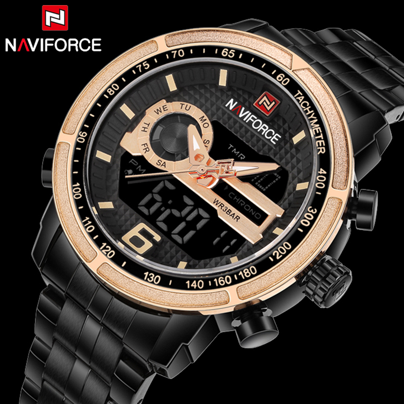 Luxury Brand NAVIFORCE Men Analog Digital Full Steel Sports Watches Men's Army Military Watch Man Quartz Clock Relogio Masculino watches men weide brand men sports full steel watch men s digital quartz clock man army military wrist watch relogio masculino