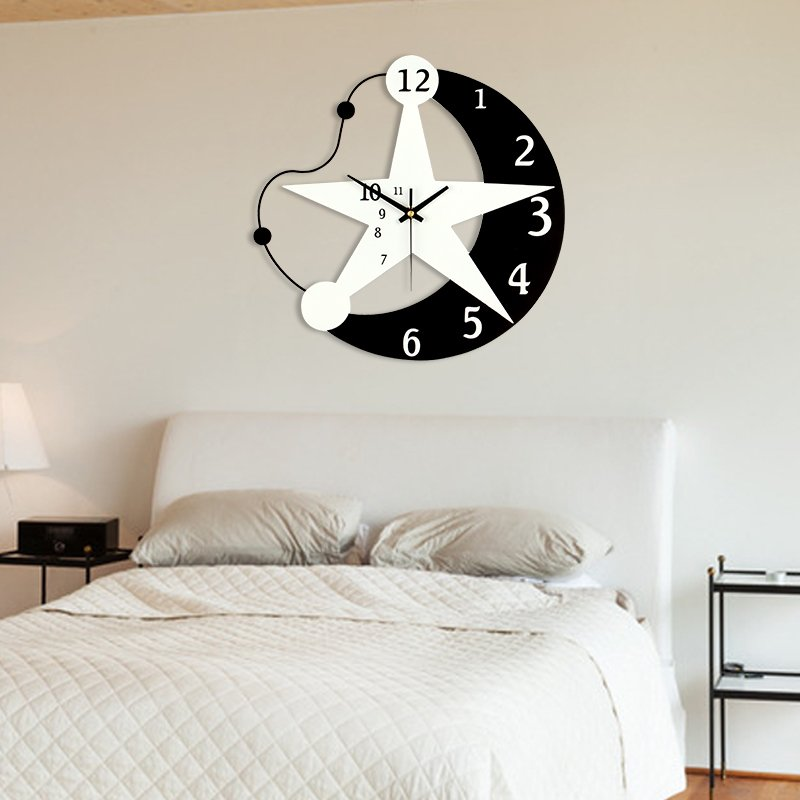 12 Inch Creative Star Wall Clock Modern Design Living Room/Kids Room ...