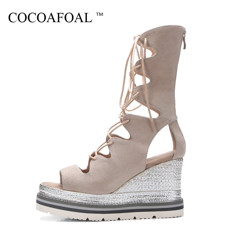 COCOAFOAL Women Open Toe Gladiator Sandals Platform Sandals High Heeled Shoes Sexy Lace Up Summer Peep Toe Wedges Sandals 32 33 minika women sandals summer shoes breathable lace flats platform wedges lose weight creepers summer sandals cd41