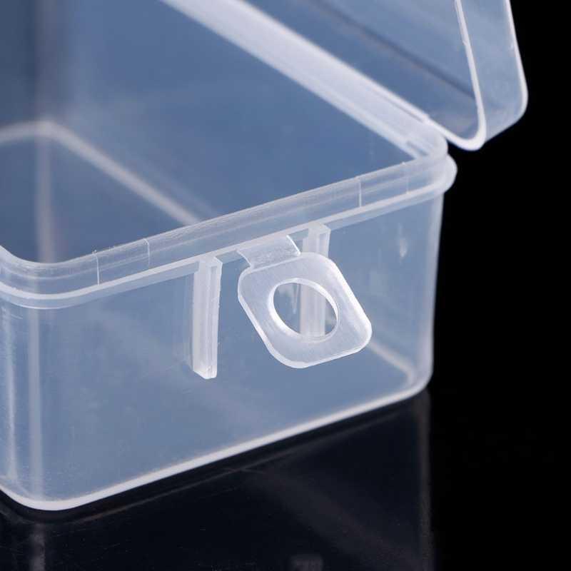 מלבני פלסטיק שקוף תיבת אחסון תכשיטי חרוזים מיכל מארגני