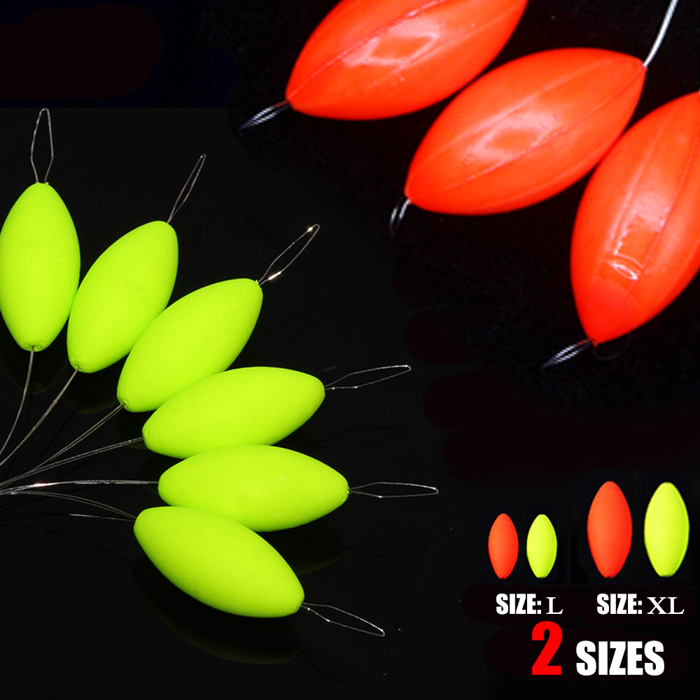 1Group  6PCS/3pcs Oval Mini Fishing Float Bobber Rig MakingFloating Beans Red/Yellow Striking Beads With Hole No Stopper