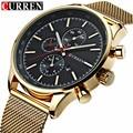 Curren Luxury Brand Men's Watches Gold Watch Men Quartz Clock Full Steel Mesh Strap Date Military Watch Wrist Relogio Masculino