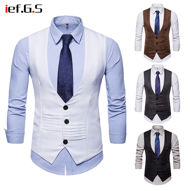IEF.G.S 2018 Brand Men Casual Suit Vest Slim Fit Sleeveless Wedding Vintage Tweed Fashion Gilet Homme Plus Size White Waistcoat
