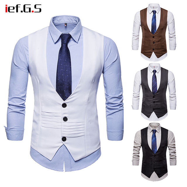 IEF.G.S 2018 Brand Men Casual Suit Vest Slim Fit Sleeveless Wedding Vintage Tweed Fashion Gilet Homme Plus Size White Waistcoat