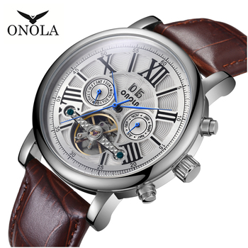 High-quality hollow pattern flywheel men's mechanical watch fashion luxury leather belt automatic mechanical watch ONOLA Brand