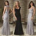 Longo Rendas Vestido De Noite De Prata Sereia Mãe Dos Vestidos de Noiva 2017 Formal da Ocasião Especial Vestido de Noite Robe de Soirée