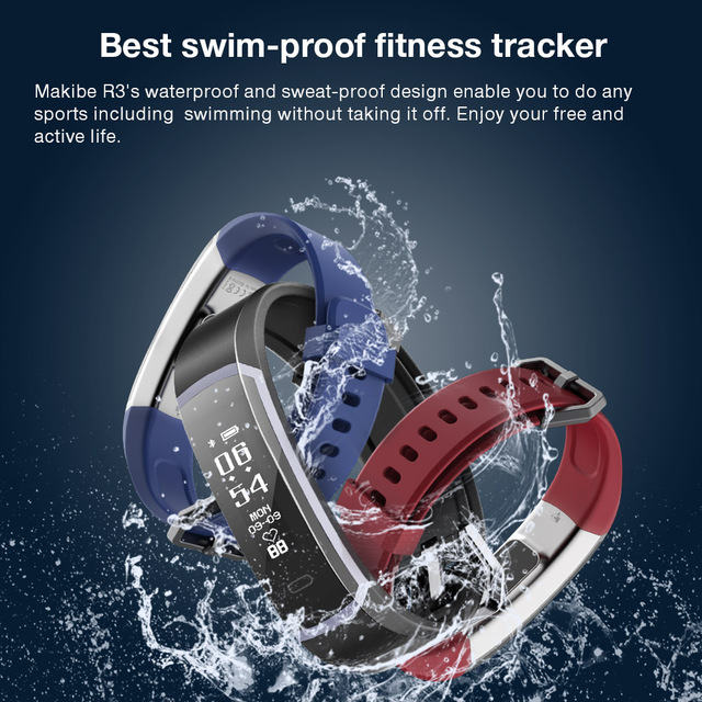 Makibes R3 Smart Bracelet Bluetooth 4.0 Wristband Continuous Heart Rate Monitor Health Fitness Tracker Smart Band Call Reminder