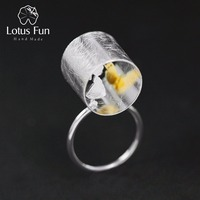 Lotus Fun 925 Sterling Silver Tube Adjustable Rings for Women Fine Jewelry Boy/Girl with Cat Puppy Love Resizable Rings Jewelry