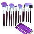 Venta caliente 16 unids Super Suave Pinceles de Maquillaje Cosmético Profesional de Maquillaje En Polvo Colorete Fundación sistema de Cepillo con Púrpura de LA PU caso