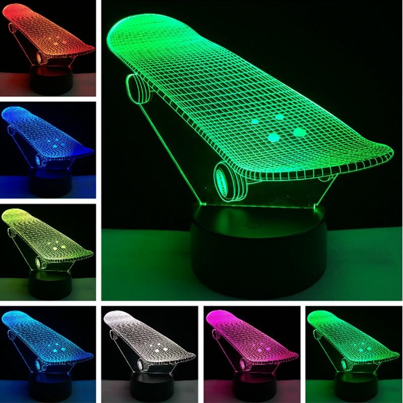 Cool Lampara Bulb boy 3D Skateboard LED Night Lights Bedroom Decor Colorf change Atmosphere Child Baby sleep Bedside Gift
