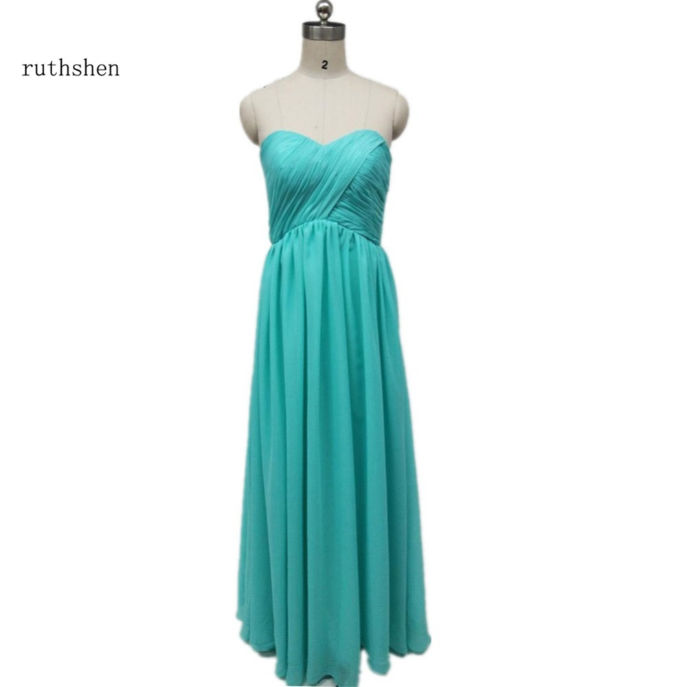 ruthshen Turquoise  Chiffon Long Bridesmaid Dresses Cheap 2018 Hot Sweet Heart Pleats Draped Wedding Party Dress