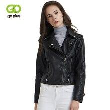 GOPLUS Moto Biker Jacket Womens Leather Jackets Black Turn Down Collar Faux Coats Veste Cuir Femme Kurtka Damska C9534