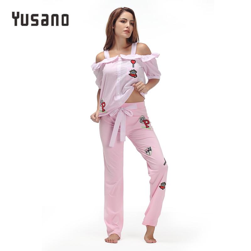 Yusano Pajamas Sets Women Cotton Embroidery Short Sleeve Ruffle Sleepwear Blue Pink Cold Shoulder Stripe Homewear Pyjama Licorne