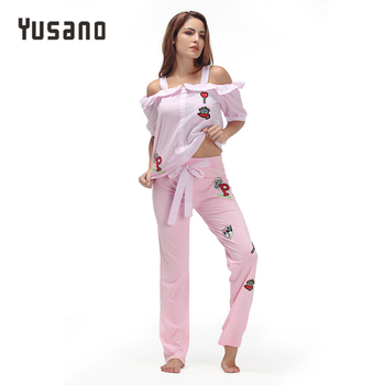 Yusano 2017 Pajamas Women Embroidery Camisole Short Sleeve Ruffle Sleepwear Girl Blue Pink Stripe Homewear Cotton Top+Long Pants pajamas