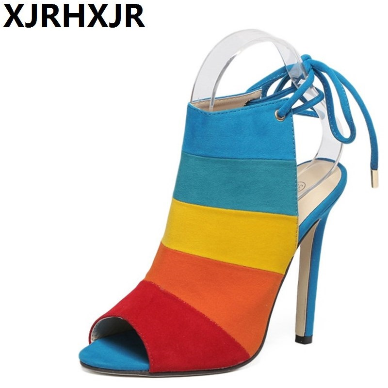 New Luxury Brand Mix Color Patchwork High Heel Pumps Women Gladiator Sandal Sexy Open Toe Strappy High Heel Sandals Party Shoes hot sale new fashion luxury real leather women thick heel pumps flock mix color wedding shoes woman flock sexy elegant pumps